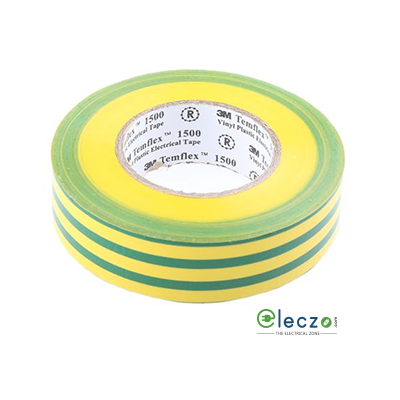 "3M Temflex1500 Vinyl Electrical Adhesive Insulation Tape, W - 3/4"", L - 20 Mtrs, Yellow/Green"