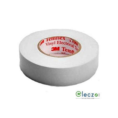 "3M Temflex1600 Vinyl Electrical Adhesive Insulation Tape, W - 3/4"", L - 20 Mtrs, White"