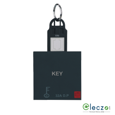 Anchor Roma Classic DP Switch With Hotel Key Card Black, 32 A, Key Ring Tag, 2 Module