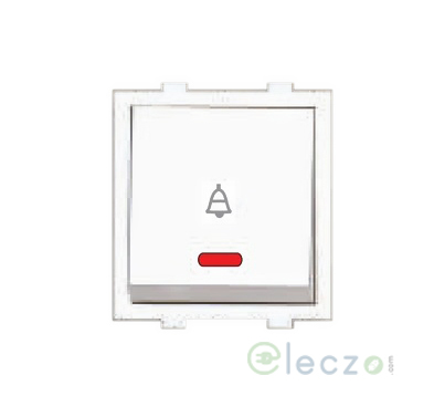 Anchor Roma Dura Switch 10 A, White, 2 Module, Bell Push, With Indicator