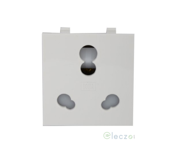 Anchor Roma Classic 3 Pin Twin Socket With Shutter 20 & 10 A, 2 Module, White