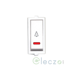 Anchor Roma Switch 10 A, White, 1 Module, Bell Push, With Indicator