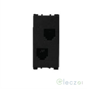 Anchor Vision Telephone Socket Double 1 Module, Black, RJ 11