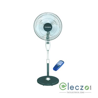 "Crompton PF Hi Flo Ester - Pedestal Fan With Remote 400 mm (16""), Steel Grey"