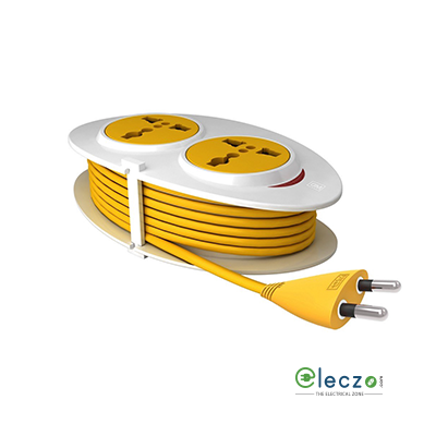 GM Modular G Magic (G-On Mini) Extension Cord 2 Internationals Sockets With Safety Shutter, Indicator (Wire Length - 2.5 Mtr)