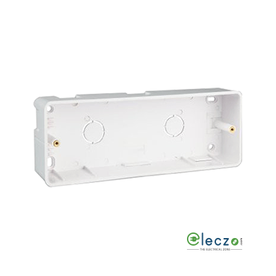 Great White PVC Surface Junction Box 2 x 8 Module Vertical, Suitable For Myrah Or Fiana