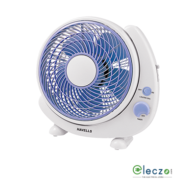 """Havells Crescent Personal Fan 250 mm (10""""), White Blue"""