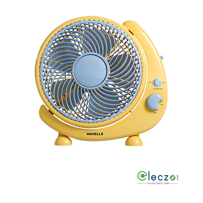 """Havells Crescent Personal Fan 250 mm (10""""), Yellow Blue"""