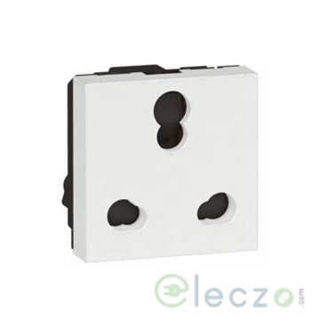Legrand Arteor 3 Pin Shuttered Socket (Square) 6/16 A, 2 Module, White
