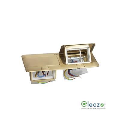 Legrand Pop Up Box 6 Module, Brushed Brass, Flush Mounting