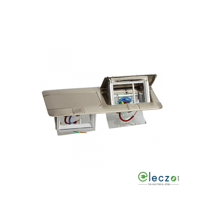 Legrand Pop Up Box 6 Module, Brushed Stainless Steel, Flush Mounting
