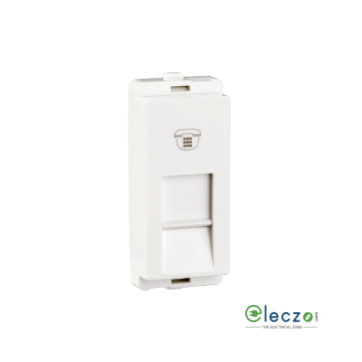 Schneider Electric Livia Telephone Outlet With Shutter 1 Module, White, RJ 11
