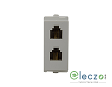 Schneider Electric Opale Twin Telephone Outlet 1 Module, White, RJ 11