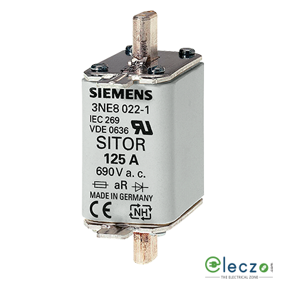 Siemens Sentron Sitor 3NE1 Fuse For Semiconductor Protection 125A, 690VAC, Size 00