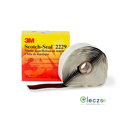 "3M Scotch2229 EP Rubber Electrical Adhesive Insulation Tape, W - 1"", L - 10 Feet, Black"