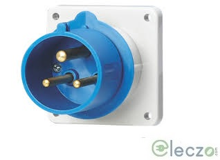 9 Electric Industrial Plug 16-20 A, 2 Pole+E, Panel Mounted, IP 44, 230 V, 6H