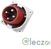 9 Electric Industrial Plug 32 A, 2 Pole+E, Panel Mounted, IP 67, 230 V, 6H