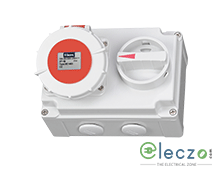 9 Electric Industrial Socket With Mechanical Interlock Switch 16-20 A, 3 Pole+N+E, IP 67
