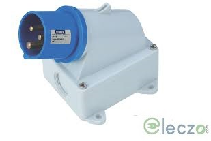 9 Electric Industrial Plug 16-20 A, 2 Pole+E, Surface-Wall Mounted, IP 44, 230 V, 6H