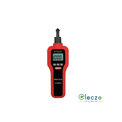 Beetech BT-2236 Digital Contact & Non-Contact Tachometer, Contact Range: 19,999 RPM, Non Contact Range: 99,999 RPM