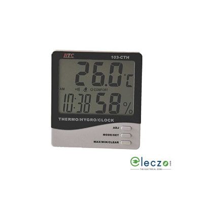 HTC Instruments 103-CTH Thermo/Hygrometer Clock 2 Line LCD Display, 70°C