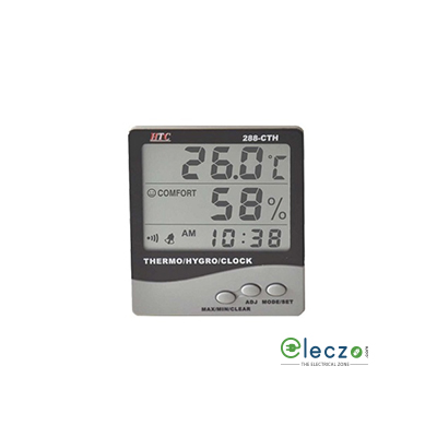 HTC Instruments 288-CTH Thermo/Hygrometer Clock 3 Line LCD Display, 70°C