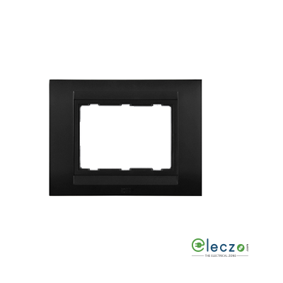 Anchor Roma Classic Tresa Cover Plate 3 Module, Solid Matt Black, With Support Frame