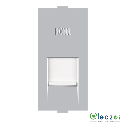 Anchor Roma Classic Silver Computer Outlet RJ 45 (Cat 6), 1 Module, Single Jack With Safety Shutter