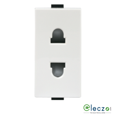Anchor Roma Plus White 2 Pin Universal  Socket 10 A, 1 Module, With Safety Shutter