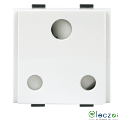 Anchor Roma Plus 3 Pin Round Socket With Shutter 16 A, 2 Module, White