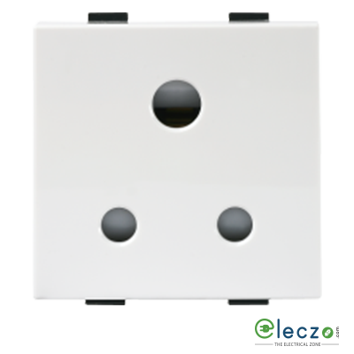 Anchor Roma Plus White 3 Pin Socket 6 A, 2 Module, With Safety Shutter