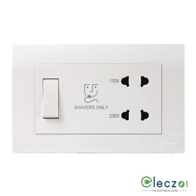 Anchor Roma Plus Shaver Socket With Transformer 4 Module, White, 110/230 V AC