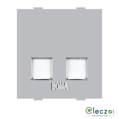 Anchor Roma Classic Silver Telephone Outlet RJ 11, 2 Module, Double Jack With Safety Shutter