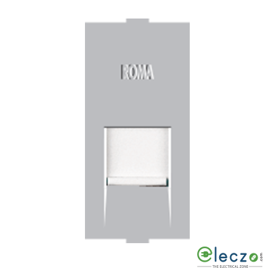 Anchor Roma Classic Silver Telephone Outlet RJ 11, 1 Module, Single Jack With Safety Shutter