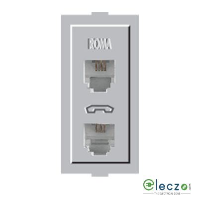 Anchor Roma Classic Silver Telephone Outlet RJ 11, 1 Module, Double Jack