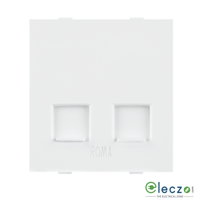 Anchor Roma Classic White Telephone Outlet RJ 11, 2 Module, Double Jack With Safety Shutter