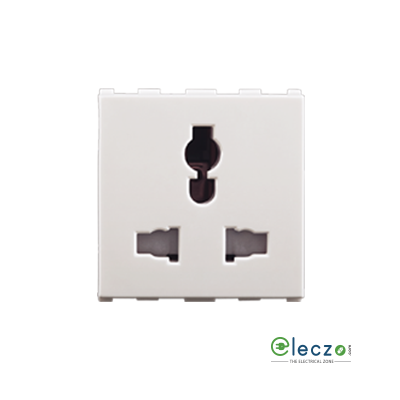 Anchor Roma Urban White 3 Pin International Socket 6/10/13 A, 2 Module, With Safety Shutter