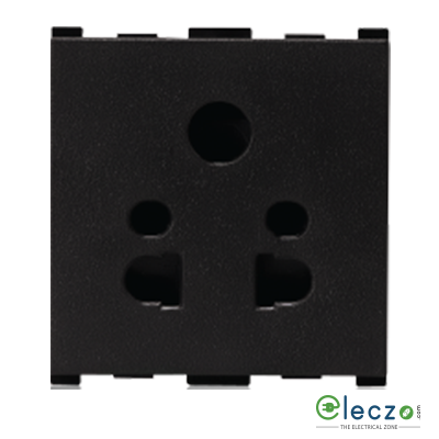 Anchor Vision 2 Or 3 Pin Multi Socket With Shutter 10 A, 2 Module, Black