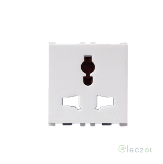 Anchor Vision 2 Or 3 Pin Combi Socket With Shutter 13 A, 2 Module, White