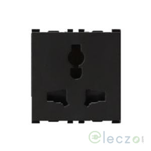 Anchor Vision 2 Or 3 Pin Combi Socket With Shutter 13 A, 2 Module, Black