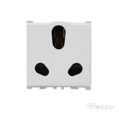 Anchor Vision 3 Pin Twin Socket With Shutter 16/6 A, 2 Module, White