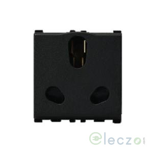 Anchor Vision 3 Pin Twin Socket With Shutter 16/6 A, 2 Module, Black