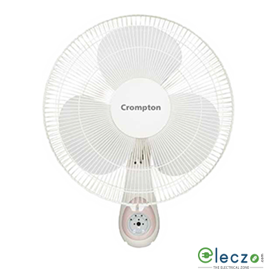 "Crompton WM Hi Flo Cressida Wall Mounting Fan With Remote 400 mm (16""), Light Grey"