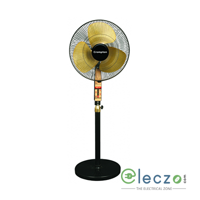 "Crompton PF SDX Pedestal Fan 400 mm (16""), Black Gold"