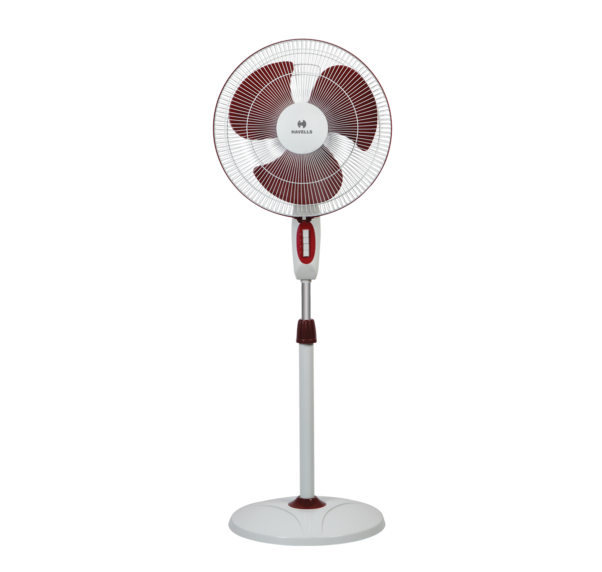 "Havells Accelero HS Pedestal Fan 400 Mm (16""), White Red"