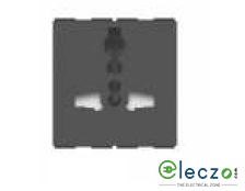 GM Modular FourFive International Socket With Shutter 13 A, 2 Module, Glossy White
