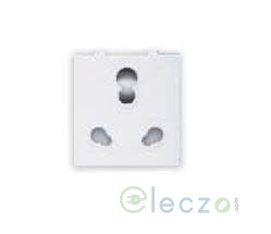 Great White Fiana White 3 Pin Twin Socket 10/20 A, 2 Module, With Safety Shutter