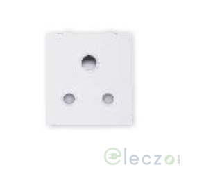 Great White Fiana 3 Pin Socket With Shutter 6 A, 2 Module, White