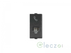 Great White Myrah Black Telephone Outlet RJ 11, 1 Module, Single Jack With Safety Shutter
