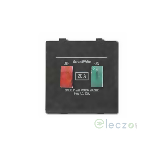 Great White Myrah Motor Starter Switch 240 V AC (1 Phase), Black, 2 Module, 20 A